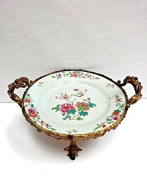 Antique European Famille Rose Plate Enameled Hand painted Glided Bronze Frame
