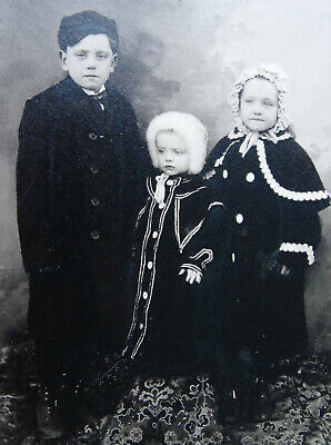 Cabinet Photo Of 3 Beautiful Children Siblings Wearing Lovely Winter Fashion