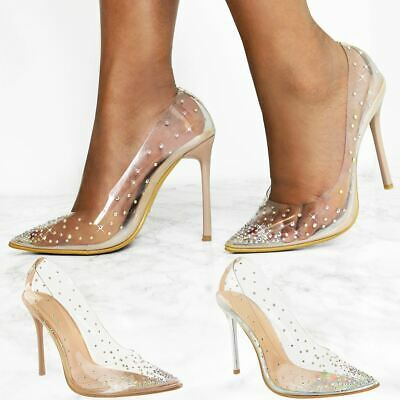Womens Ladies Perspex Court Shoes High Heels Stilettos Diamante Party Wedding