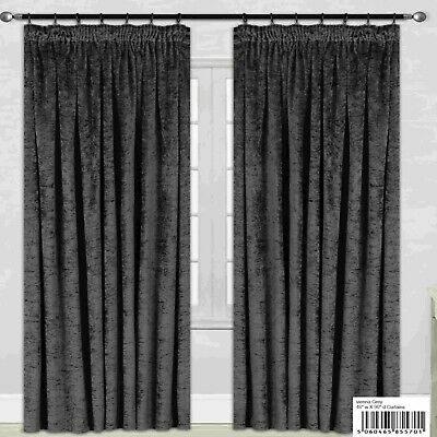 Vienna Silver Grey Crush Crushed Velvet Pencil Pleat Top Lined Curtains
