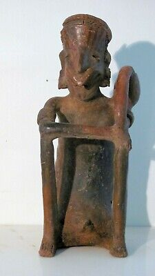 Jalisco Seated Male, San Sebastian Red Type, original paint showing, 300BC-300AD