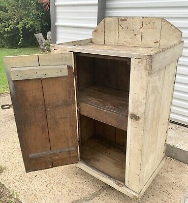 Antique Jelly Cupboard Primitive Wood Storage Cabinet Farmhouse Kitchen Pantry