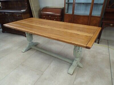 Large Solid Oak Painted Shabby Chic Refectory Dining Table 78'' ref - b256