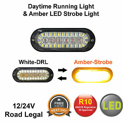 DRL Daytime Running Light & Amber LED Strobe, Flashing Recovery Beacon 12/24V