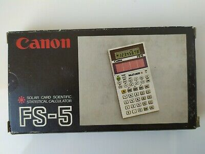 Vintage Canon fs-5 rare thin solar card scientific calculator NEW IN BOX