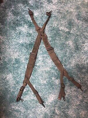 1940s 1950s WWII KOREA M1945 COMBAT FIELD EQUIPMENT BELT SUSPENDERS-OD#7