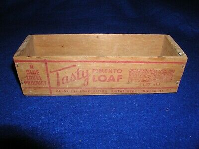 Vintage Tasty Pimento Loaf 2 Lbs. Wood Box A Blue Label Product Pabst-Ett Corp.