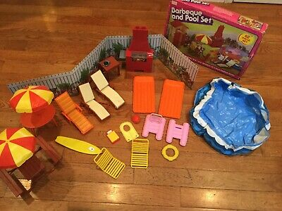 VINTAGE SEARS EXCLUSIVE BARBIE Barbecue And Pool Set Not Complete - Bonus Pieces