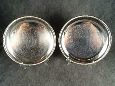 "2 X Leonard Silverplated 12 1/2"" Round Serving Trays"