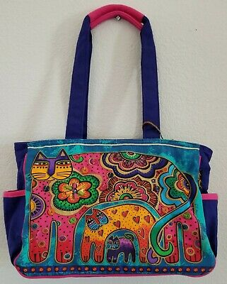 Women's Laurel Burch Bag Hand Painted Canvas Cats Galore With Shoulder Strap