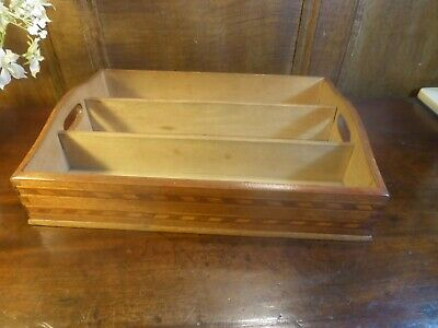 "ANTIQUE INLAID wooden CUTLERY TRAY with HANDLES - dovetailed corners - 13""x9.5"""