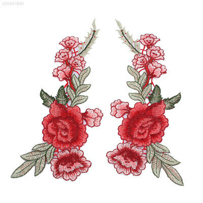 2Pcs Rose Flower Leaves Embroidery Patches Garment Clothing Sew Clothes Applique