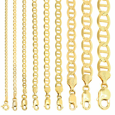 """10K Yellow Gold Solid 2mm-10.5mm Mariner Anchor Chain Necklace Bracelet 7""""- 30"""""""