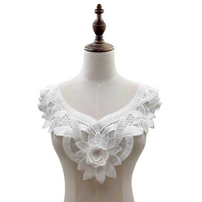 Large White Flower Lace Embroidery Neckline Motif Collar DIY Sewing Applique