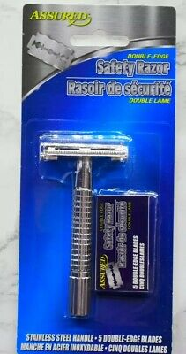 Assured Double Edge Stainless Shaving Safety Razor 5 Blades Included