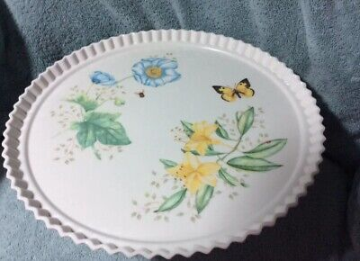 """Lenox Butterfly Meadow Melamine  Footed Server 14""""  New"""