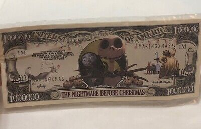 Nightmare Before Christmas Jack Skellington Million Dollar Bills x 2