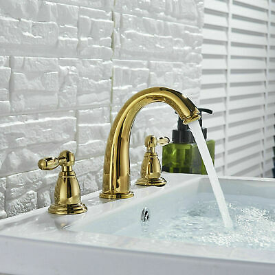 BWE Waterfall Spout Bathroom Sink Faucet Single Handle Antique Copper Deck Mount