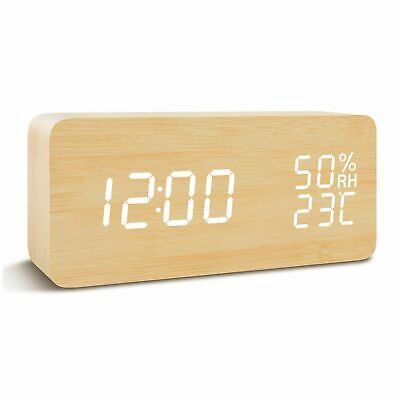 Display indoor temperature and time LED Digital Desk Wooden Alarm Clock