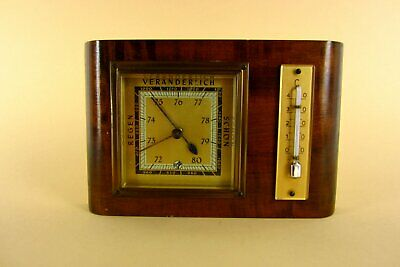 Old Weather Solid Wood Moc Barometer Thermometer 60er Years Collector's Item