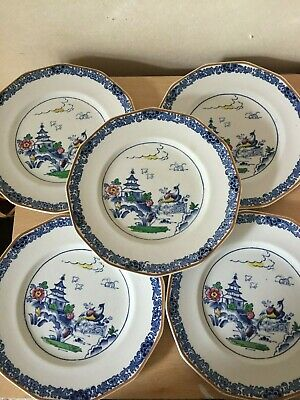 Vintage Booths Pottery silicon china Pagoda Pattern Side Plate x 5 oriental pat