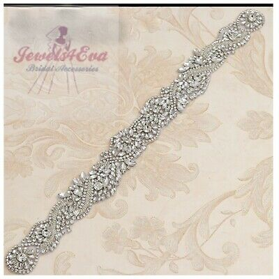 Gorgeous Bridal Wedding Dress Sparkly Silver Crystal Pearl Applique Sash Belt