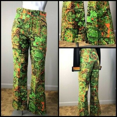 Vtg 70s Pants 60s Jeans PoP Art Novelty Print Cotton Hippie Denim Woodstock Era