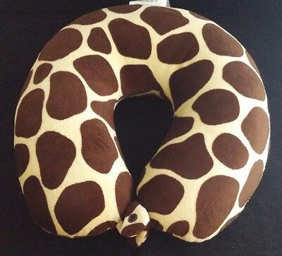 Soft Animal Print Neck Support Air Travel Pillow with Snap Polyester Fiber Brown