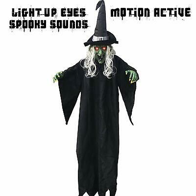 Halloween Decorations Life Size Hanging Creepy Animated Light Up Eyes Witch Yard