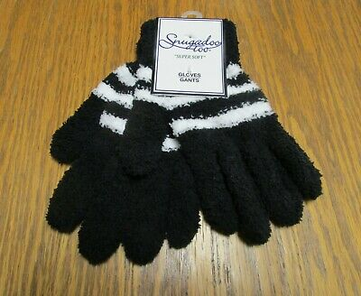 NWT Women's Stretchy Soft Knit SNUGADOO TOO Gloves, One Size Black White Stripes