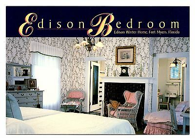 Edison Bedroom Fort Myers Florida Postcard Winter Home China Tea Set Fireplace