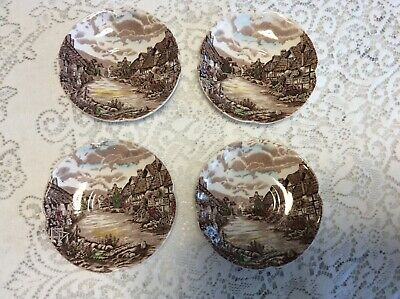 Four Johnson Brothers England Olde English Countryside  Saucers Brown