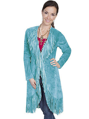 New Women/'s Scully Boar Suede Fringe Western Cowgirl Rodeo Jacket Turquoise
