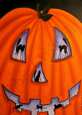 ACEO print folk art Halloween PUMPKIN SURPRISE black cat JOL whimsical humor DC