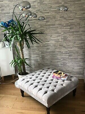 """👍🏼 Amazing New Size 35""""X 35"""" X H 16"""" Buttoned Footstool Velvet Grey Fabric"""
