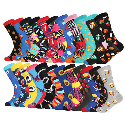 Mens Socks colorful Business Party Dress Sock Cotton Novelty funny happy Socks