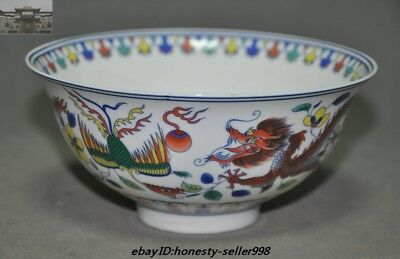 """5"""" Marked Old China Dynasty Wucai porcelain Dragon Phoenix Totem Bowl Cup Bowls"""