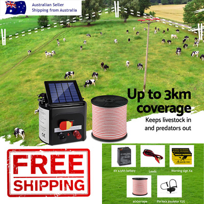3km Solar Electric Fence Energiser Charger 400m Tape 25 Insulators Farm DIY Home