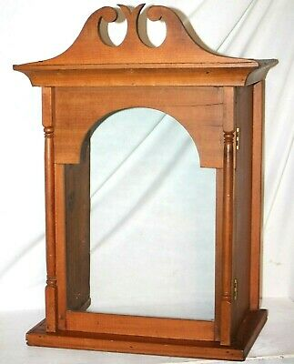 Antique Tall Case / Grandfather Clock Pine Hood Covering W/ Hinged Glass Door