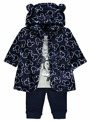 Disney Mickey Mouse Navy Dressing Gown and Pyjamas Set Boys Sizes Newborn to 2yr
