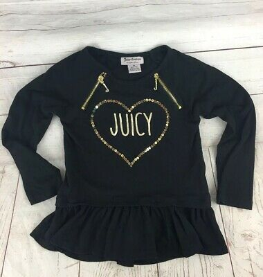 JUICY COUTURE BLACK & GOLD BLING GIRLS Ruffled Tunic Dress Size 4T
