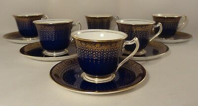 6 Antique George Jones Crescent China Cobalt Blue Gilded Coffee Cups Saucers