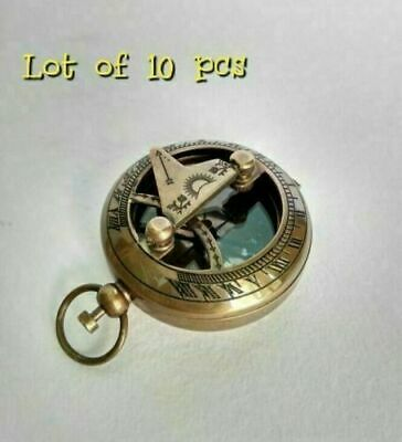 Lot of 10 pcs Antique Brass Vintage Sundial Push Button Nautical Compass STYLE