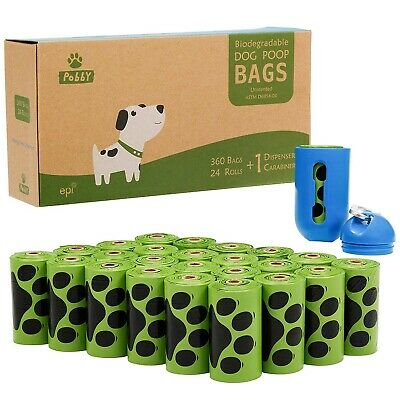 Bags Dogs Poop Waste Clean Biodegradable Dispenser 24 Rolls Poopbags Unscented
