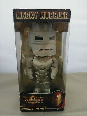 Grey Iron Man Wacky Wobbler Bobblehead Toy Marvel 2008 NIB Mark I Armor Funko
