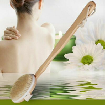 Natural Bristle Wooden Bath Shower Body Back Dry Skin Bath Brush Spa Scrubber