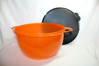 Tupperware Thatsa Mega Bowl 42-Cup Orange Sparkle w/Black Lid Holiday, NEW