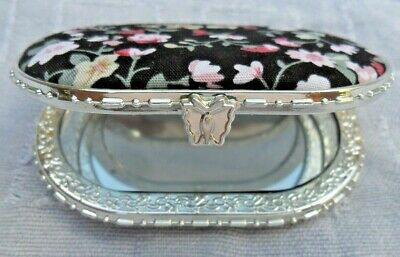 Compact Mirror Pink Floral / Black Fabric 2-Sided Oval Mirror 5cm x 7.5cm NEW
