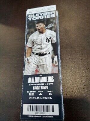 New York Yankees Oakland Athletics MINT Season Ticket 9/1/19 2019 MLB Stub
