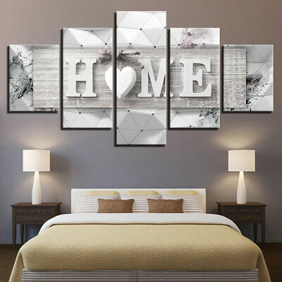 Home Decor Abstract Modern Love HOME Letters Canvas Print Painting Wall Art 5PCS